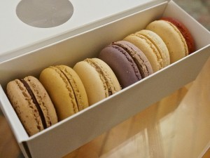 Bon Macaron assortment, dark choc, sea salt caramel, smores, cassis currant, PB&J, cherry pie